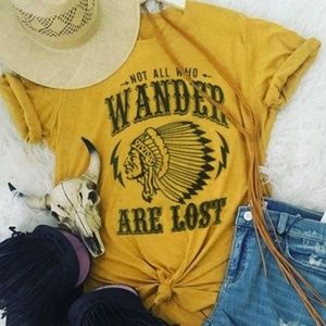 NOT ALL WHO WANDER ARE LOST Mustard graphic tee